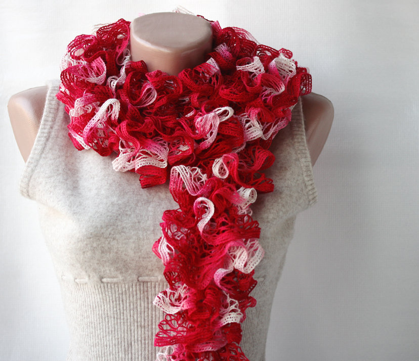 Red Knit Scarf Carmine Red Winter A.. on Luulla