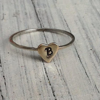 Sterling Silver Square Wire Ring with 14k Gold Filled Heart...Stack Ring