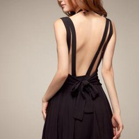 Bowknot Backless Strap Dress