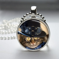 Round Glass Pendant Bezel Pendant Cat Pendant Steampunk Cat Necklace Photo Pendant Art Pendant With Silver Ball Chain (A3893)