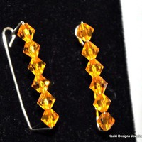 Orange swarovski Crystal Earrings