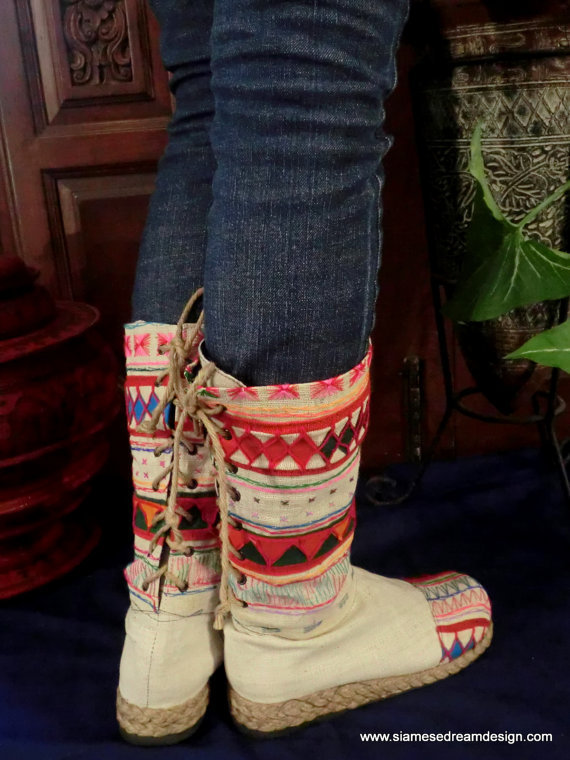 Tribal Embroidered &amp; Appliqud Natural Woven Cotton Back Lace Boots