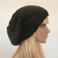 Slouchy Beanie Slouch Hats Baggy Beret Women Teen Men Unisex Black Multi-color Flecks Hand knit Chunky Hand Made Knit