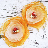 Orange, Ivory Organza hair flowers bobby pin bride summer wedding sunshine women fashion bridesmaids accessories europeanstreetteam
