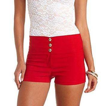 Stretchy High-Waisted Shorts by Charlotte Russe - Red
