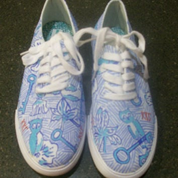 Lilly Pulitzer Inspired Canvas Shoes- Kappa Kappa Gamma Pattern