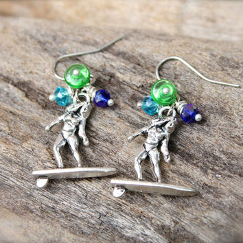 Surf Jewelry from Hawaii - Hawaiian Jewelry - Surfer Girl Earrings - Surfboard Earrings Ocean Inspired Surfer Jewelry from North Shore Oahu