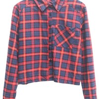 Tartan Plaid Crop Shirt - OASAP.com