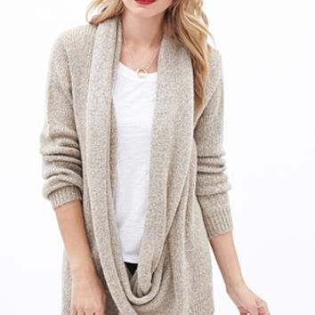 Draped Attached-Scarf Cardigan
