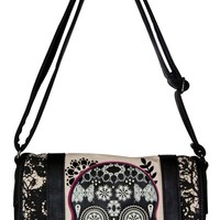 Sugar Skull with Lace Cross Body Bag | Blame Betty