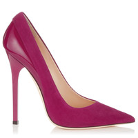 Dark Orchid Suede and Shiny Leather Pointy Toe Pumps | Kayomi | Autumn Winter 14 | JIMMY CHOO Shoes
