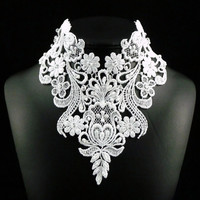 Extreme Lace White Bridal Bib Necklace with Sparkling Swarovski Crystals in Romantic Victorian Style