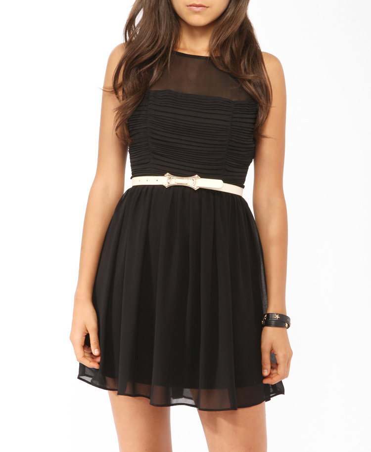 Ruched Mesh Trim Dress