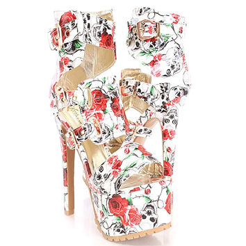 Miley-04 White Skull Floral Open toe Sandal Stiletto Heels