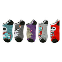 The Nightmare Before Christmas Character No-Show Socks 5 Pair