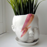 Ziggy Stardust Baby - Porcelain Baby doll head planter