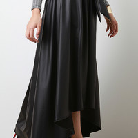 High Low Leatherette Maxi Skirt