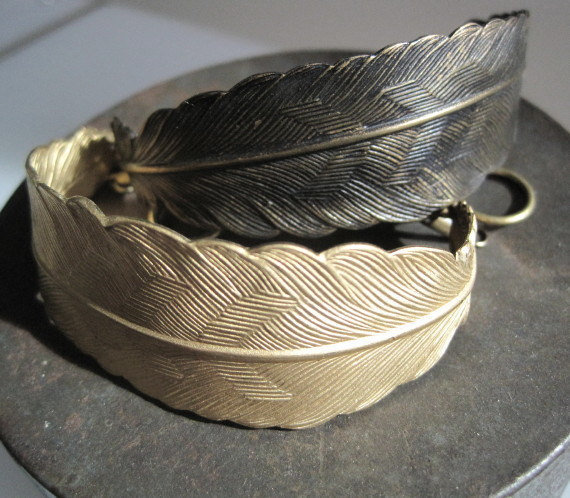 Dark Brass Large Feather Bracelet OR Raw Brass Large Feather Bracelet