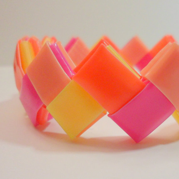 Bright Zigzag Neon Chevron Bracelet in Pink Lemonade - Ziggibandz