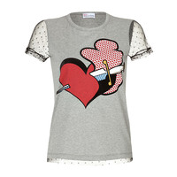 RED Valentino - Cotton-Jersey Printed T-Shirt with Dotted Tulle Sleeves