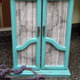 French Armoire Style Jewelry Box Handpainted in Turquoise and French Lace and Grey Barnwood