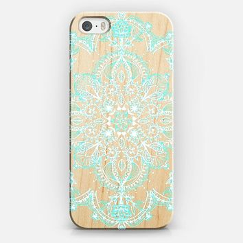 Aqua and White Lace Mandala on Wood iPhone 5s case by Micklyn Le Feuvre | Casetify