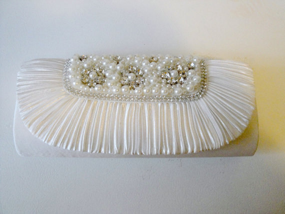Free Shipping: White Rhinestone Pearl Clutch Evening Bag Clutch Wedding Bridal
