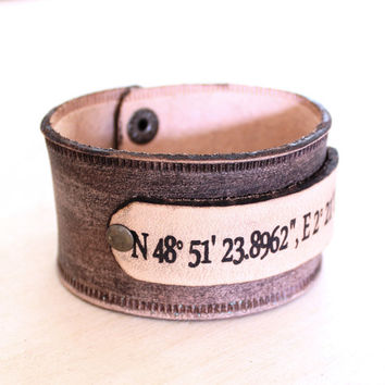 GPS Coordinate men bracelet wristband personalised leather gps cuff