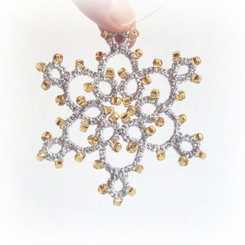 Silver Gold Beaded Christmas Tree Decoration in Tatting - Celyna - Large
