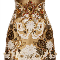 Embroidered Metallic Leather High Waist Skirt by Dolce & Gabbana - Moda Operandi