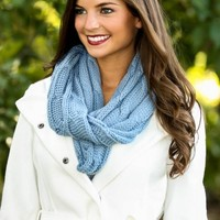 Cup Of Cocoa Infinity Scarf-Powder Blue