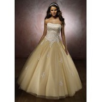 [US$226.99] Strapless Beaded Applique Tulle Sweet Sixteen Dress/Prom Dress
