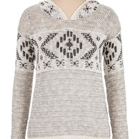 long sleeve patterned sweater with hood