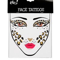 Sparkly Leopard Face Tattoos