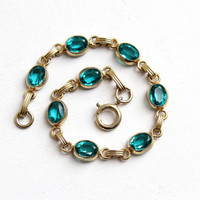 Vintage 12K Yellow Gold Filled Simulated Emerald Bracelet - Retro 1960s Oval Faceted Teal Blue Green Tennis Bracelet Jewelry