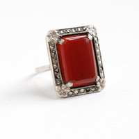 Antique Art Deco Carnelian & Marcasite Flower Ring - Vintage Size 5 3/4 Sterling Silver 1920s 1930s Red Stone Rectangular Statement Jewelry
