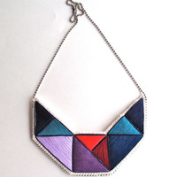 Embroidered necklace geometric bib triangles in beautiful colors purples blues and reds bold design
