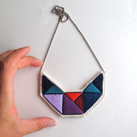 Embroidered necklace small geometric statement bib in beautiful colors purples blues and reds bold design