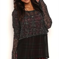 Long Sleeve Marled Knit Top with Chiffon Envelope Bottom