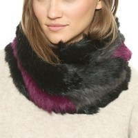 Color Striped Knitted Fur Infinity Scarf