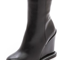 Leather Wedge Boots