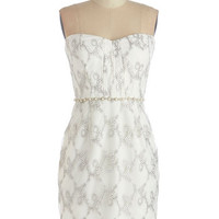 ModCloth Mid-length Strapless Sheath Graceful Garlands Dress