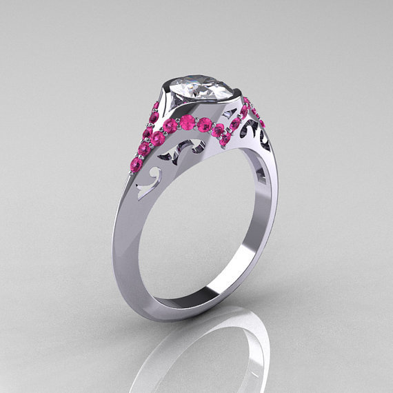 Classic 14K White Gold Oval White and Pink Sapphire Wedding Ring, Engagement Ring R194-14KWGPSNWS