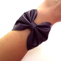 Purple Faux Leather Bow Bracelet