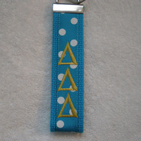 Delta Delta Delta Sorority- 2 choices, pick one! (OFFICIAL LICENSED PRODUCT)  Monogrammed Key Fob Keychain Cotton Webbing Ribbon Wristlet