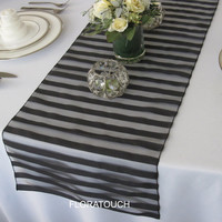 Black Tuxedo Organza Table Runner wedding table runner