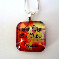 Graduation Gift Necklace She Flies With Her Own Wings -In Latin -Alis Volat Propriis