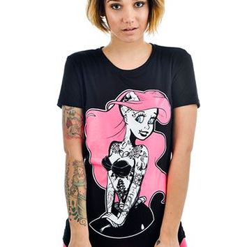 "Women's ""Punk Rock Ariel"" Slashback Tee by Too Fast (Black)"