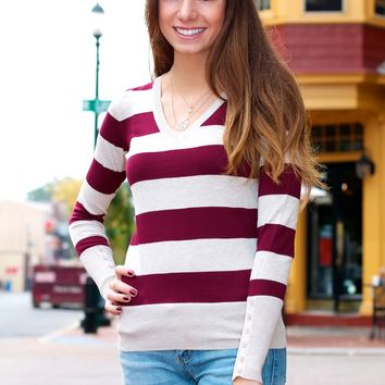 Button Cuff Striped Sweater