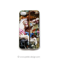 iPhone 4 Case. Shabby Carousel Horses. Fun Carnival Accessory for iPhone 4 and 4s. Colorful Vintage inspire photo